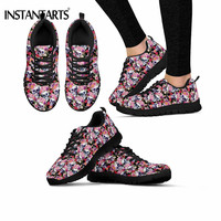 INSTANTARTS Punk Skull Floral Women's Flats Casual Comfortable Breathable Mesh Sneakers for Ladis Girls Outdoor Lace Up Footwear
