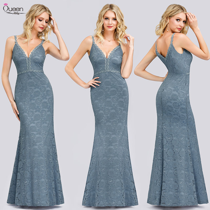 Elegant Evening Dresses Long Queen Abby Mermaid Double V-Neck Sleeveless Zipper-Up Sexy Lace Formal Party Gowns With Straps