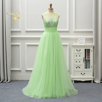 Abendkleider 2020 Mint Green Crystals Sexy Backless Long Formal Evening Dresses Party Gowns Vestido Longo Robe De Soiree EV11