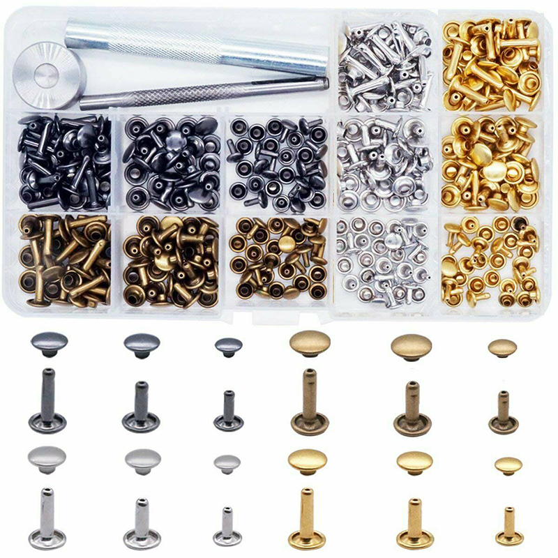 Экологически чистая медь двойная заклепка 360 наборы 3 размера 4 цвета инструменты разноцветные кожаные аксессуары