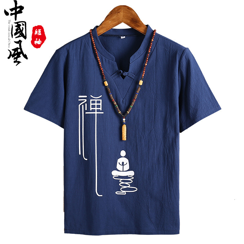 Men's Kung Fu Loose Blouse Traditional Chinese Tang Suit Cheongsam Vintage Wushu Oriental T-Shirts Linen Tee Tops Kimono Clothes