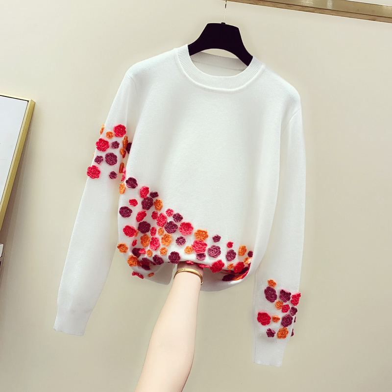 US $41.05 21% OFF|Loose Sweater Woman 2020 New Spring Autumn White Embroidered Handmade Crochet Three dimensional Flowers Sweater Jumper