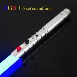 LGTOY FOC Lightsaber Jedi Dueling Light Saber Flash on Clash Metal Handle Luminous Cosplay Children Toys Saber Stick-110cm RGB