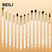 BEILI XGF Goat Hair Pearl White Gold Luxury Professional Eye makeup brushes set concealer smokey shade eye blending Brushes 2019