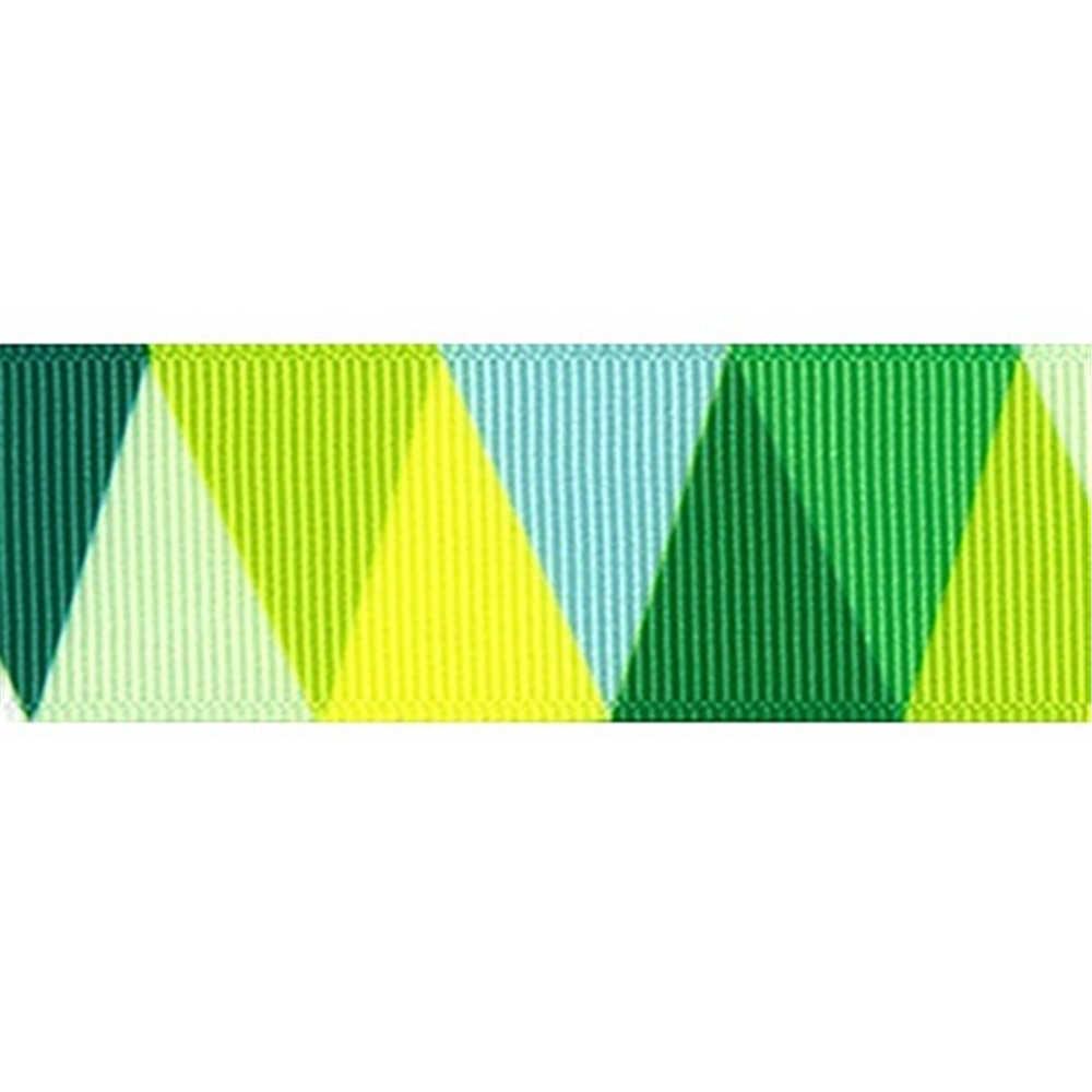 Nowy 25mm 5 stoczni geometryczne trójkąty wzór druk termotransferowy pakowanie prezentów pas DIY pieczenia wstążka poliestrowa do kokardki do włosów szycia