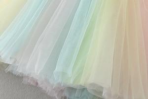 Детские торжественные платья принцессы с аппликацией для девочек, Радужное Тюлевое платье для дня рождения платье для маленьких девочек од...