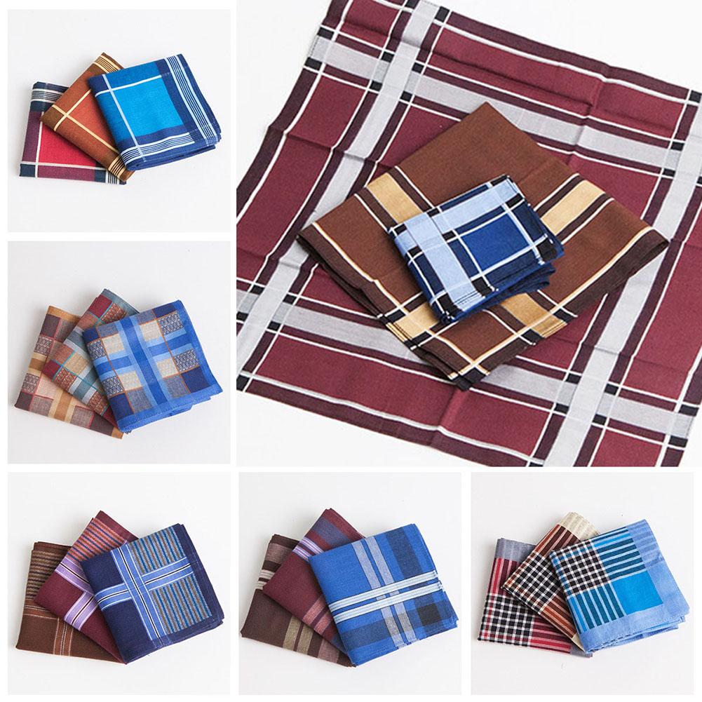 3Pcs Handkerchief Multicolor Plaid Stripe Men Pocket Square Business Chest Towel Pocket Handkerchiefs Hankies Scarf 100% Cotton