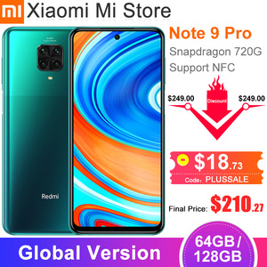 "Global Version Xiaomi Redmi Note 9 Pro Smartphone 6GB RAM 64GB ROM Snapdragon 720G 64MP Rear Quad Camera 6.67"" NFC Cellphone(China)"