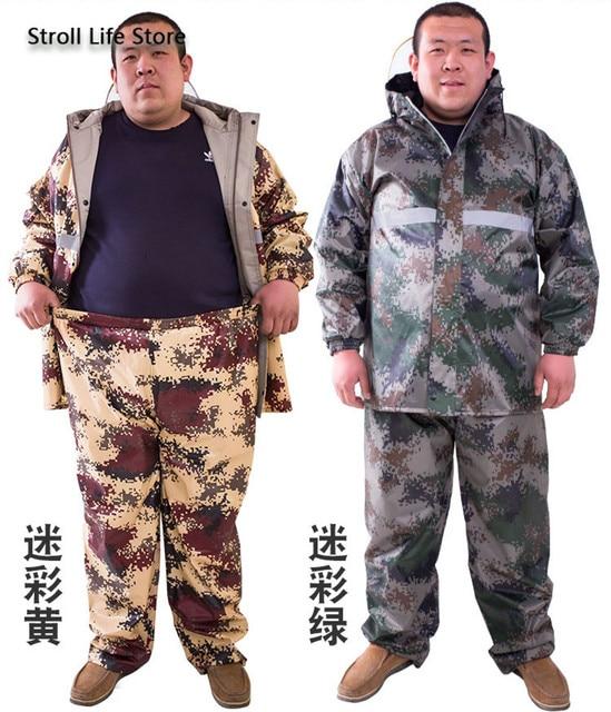 Large Plus-size Raincoat Men Rain Pants Set Double-Layer Fat Man Raincoat Waterproof Suit for Fishing Hiking Capa De Chuva Gift 3