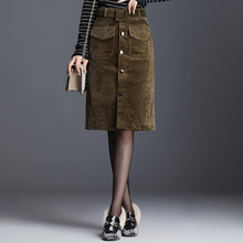 #0242 2019 Winter Single Breasted Corduroy Skirt For Women High Waist Slim Knee Length Ladies Plus Size 4XL