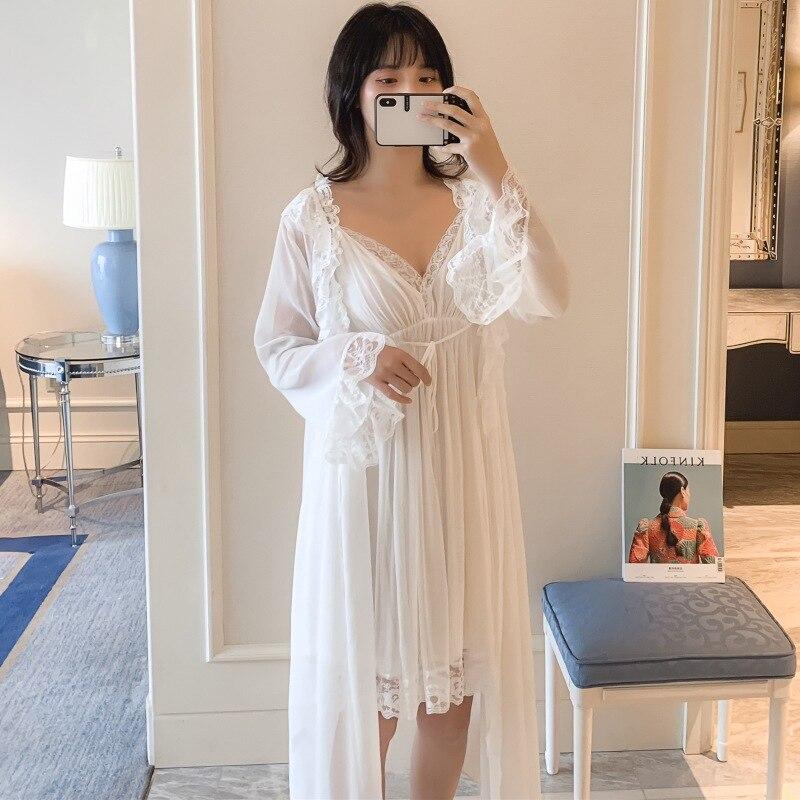 Summer Women Sexy Lace V-Neck Spaghetti Strap Silk Fabric Mid-Calf Women Night Skirt Pajama Pyjamas Nightie Sleepwear