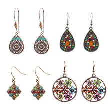 4 Pair/Set Retro Bohemia Water Drop Earrings For Elegant Women Geometric Brincos Dangle Earring pair of elegant faux gem clip earrings for women