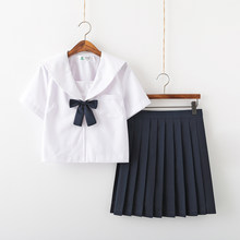 Reine weiße Schule Kleid Lolita Sommer rock JK Japanischen Schule Uniformen Top + Rock + Krawatte Teen Mädchen Anime Cosplay sailor Anzüge(China)