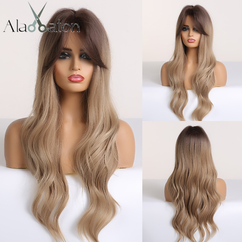 ALAN EATON Long Ombre Brown Blonde Womens Wigs With Bangs Water Wave Heat Resistant Synthetic Wigs For Women African American
