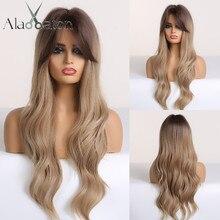 ALAN EATON, perruques synthétiques ondulées longues brunes et blondes avec frange, résistantes à la chaleur pour femmes afro américaines