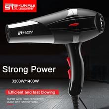 Профессиональный ионный фен для волос, мощная и горячая/холодная сушилка для волос 110 в 210 в, электрическая щетка для волос, парикмахерское оборудование черного цвета