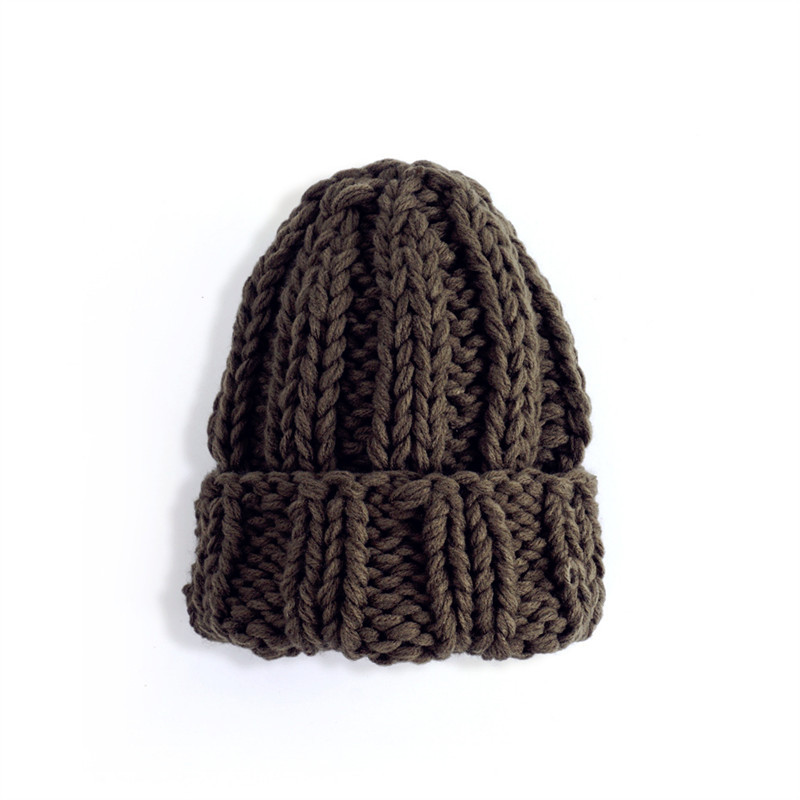 Women Winter Knitted Beanies Hat Thick Soft Warm Coarse Large Knitted Solid Hat Female Ice Ski Bonnet Skullies Beanies Hat Cap 212
