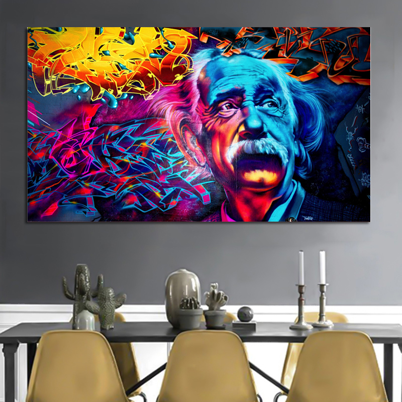 Reliabli Art Abstract Colorful Albert Einstein Frameless Pictures
