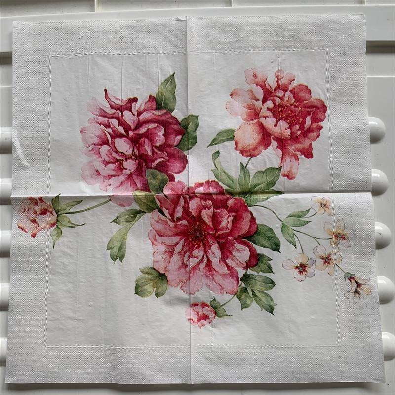 Napkin Paper Tissue Oils Craft Flower Pattern Vintage Peony Handerchief Decoupage Wedding Christmas Birthday Party Cafe Cup Mat