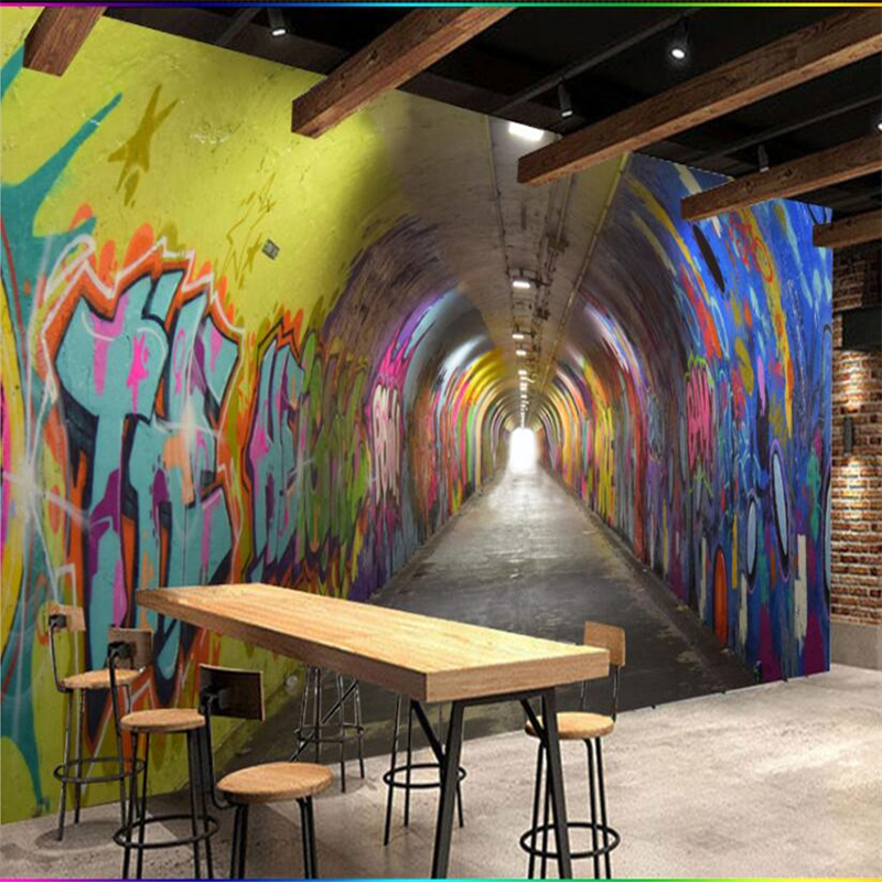 Beibehang-3D-three-dimensional-time-tunnel-channel-KTV-restaurant-wall-custom-large-mural-environmental-wallpaper