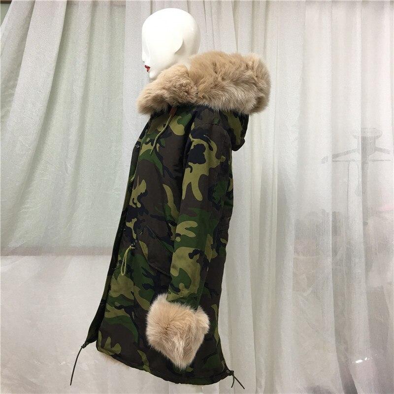 Camouflage Green Parka Men Style Apricot Fox Fur Collar New Jacket Tartan Fox Fur And Faux Fur Lining Long Coat - 2