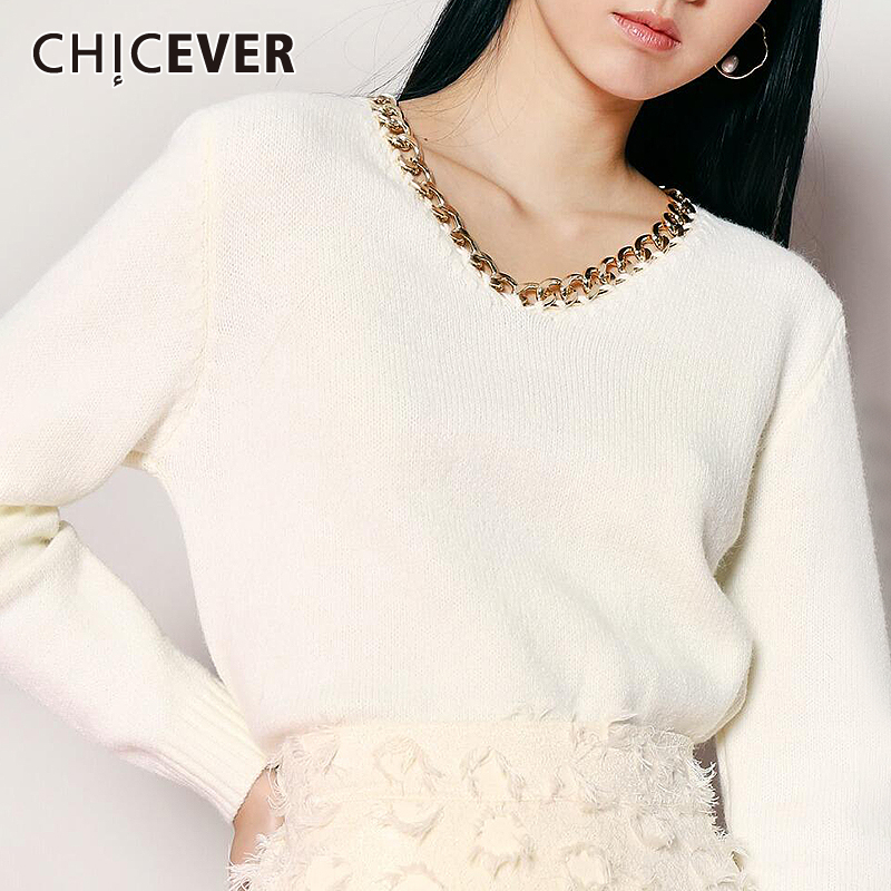 CHICEVER Women's Sweater V Neck Long Sleeve Patchwork Chain Red Knitting Pullovers Female 2020 Casual Fashion New