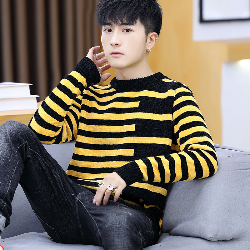 2020 New Autumn Men Round Collar Stripe Knit Teenagers Long-sleeved Handsome Leisure Base Sweater