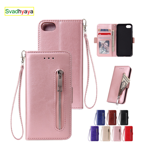 Zipper For iPhone 11 12 Pro 6 6S 7 8 Plus X XR XS Max SE Case Wallet Leather Flip Stand Fashion Case Cover Mobile Phone Bag