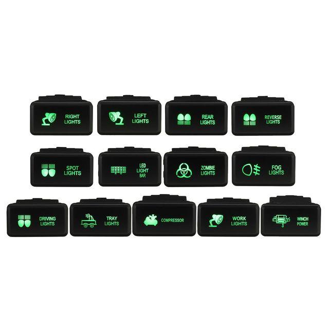 12V Auto LED Push Schalter 5 Pin Auf Off Grüne LED Licht Taste w/Stecker Draht Für toyota Prado HiAce/Hilux Landcruiser 1998 2009