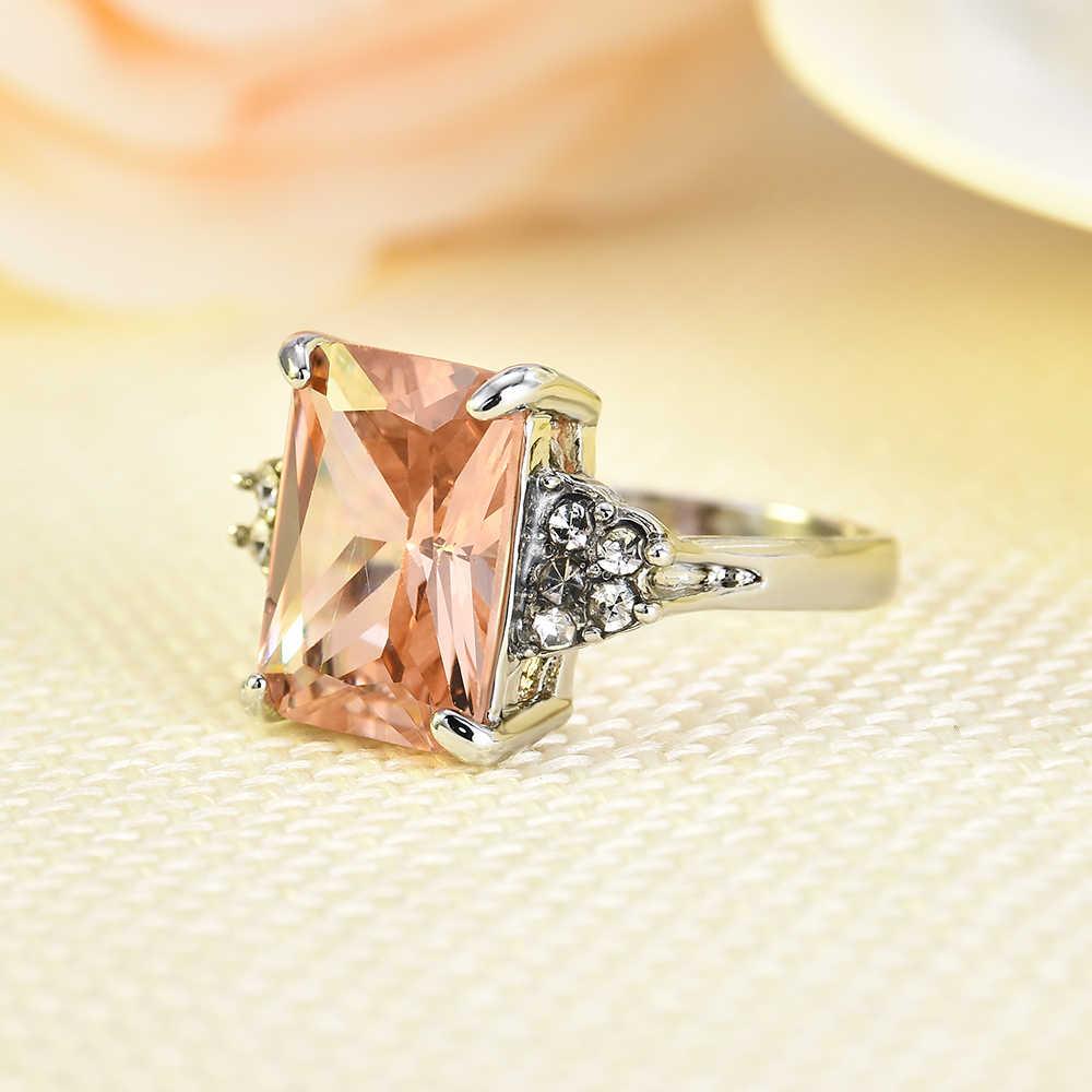 2019 ใหม่ขนาดใหญ่ Morganite ผู้หญิง Rhinestone แหวนเงินงานแต่งงานเครื่องประดับ Damen Ringe Silber Joyeria Anillos Mujer Moda
