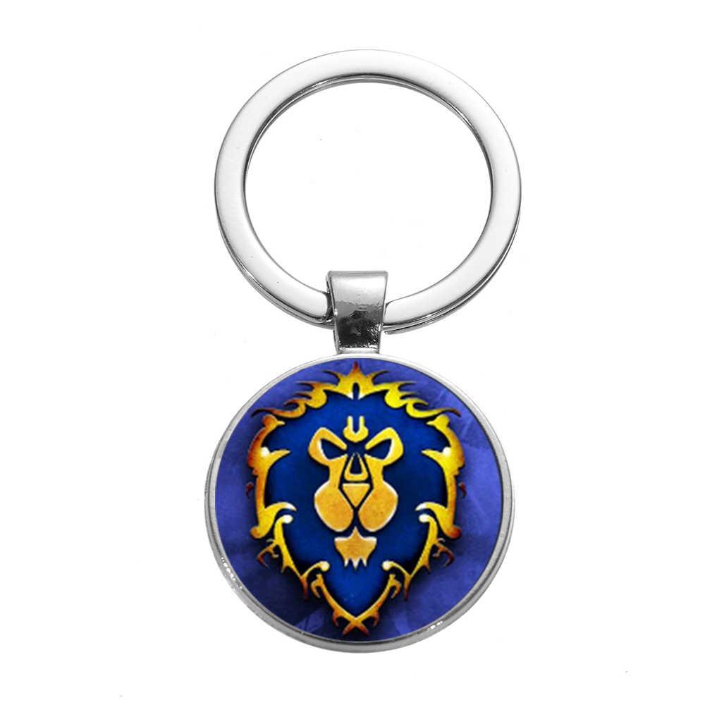 SONGDA ホット販売世界 Warcraft のだんらんのリコールのキーホルダートレンディブルー石ガラスペンダントキーリングおもちゃのギフト男性男の子