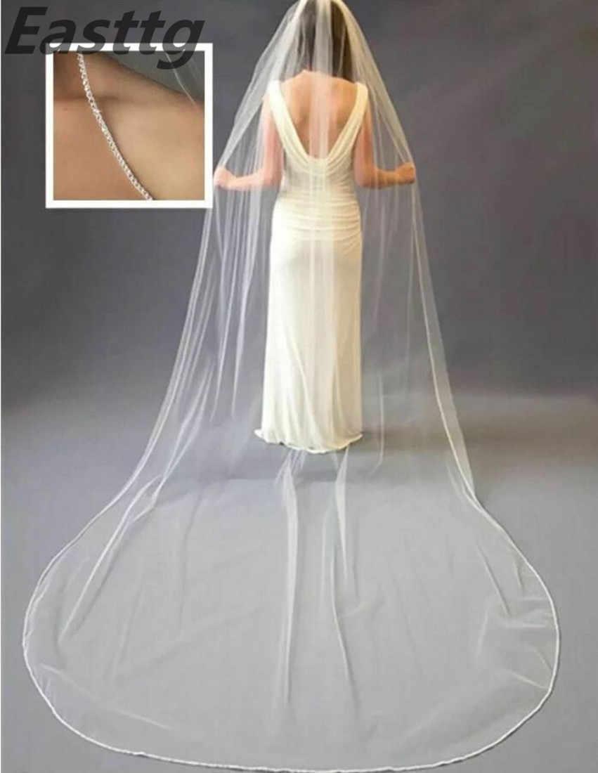 Champagner Weiß Elfenbein Hochzeit Zubehör Kathedrale Kristall Rand Hochzeit Schleier Nach Maß Länge 1 T Braut Schleier Mit Metall Kamm