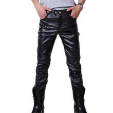Mens Skinny Shiny Gold Silver Black PU Leather Pants Motorcycle Men Nightclub Stage Pants for Singers Dancers Casual Trousers
