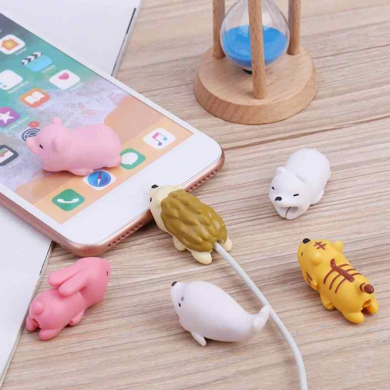 1Pc Cute Bite Cartoon Animal Cable Protector Cord Wire Protection Mini Cover Charging Cable Winder High Quality Protector New