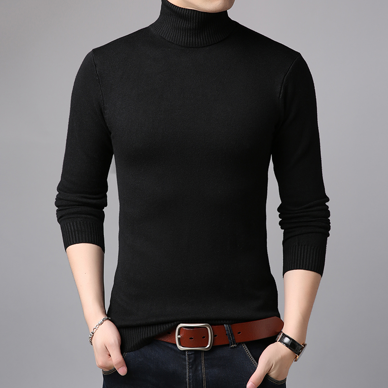 Spring Autumn Mens Fashion Plain Turtleneck Sweater Casual Male Long Sleeve High Collar Basic Knit Sweater Free Shipping