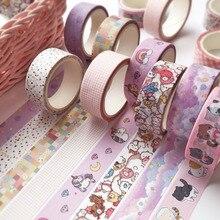 15mm*5m Cute Unicorn Cat Washi Tape Kawaii Grid Leaves Masking Tape Decorative Diary Tape Sticker Scrapbook Journal Stationery цена 2017