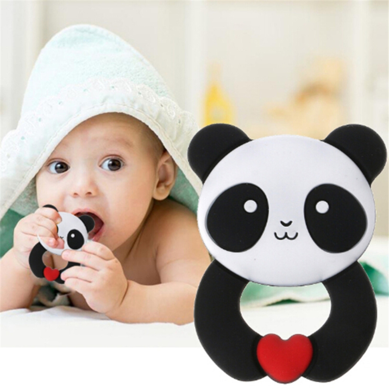 Panda Silicone Teethers Baby Teether Ring Teething Pendant Necklace DIY Baby Chew Toy Infant Gift