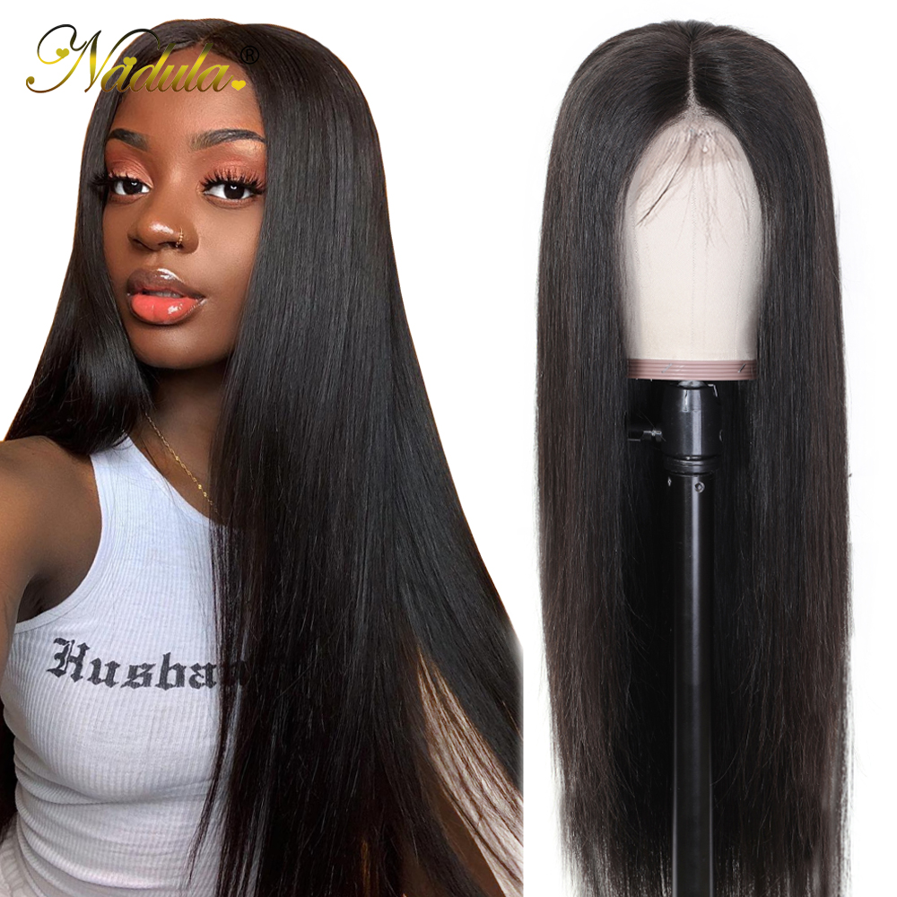 Nadula Wig Straight Human-Hair-Wigs Lace-Frontal Bleached Knots Pre-Plucked 360 Hair-13x4/4x4
