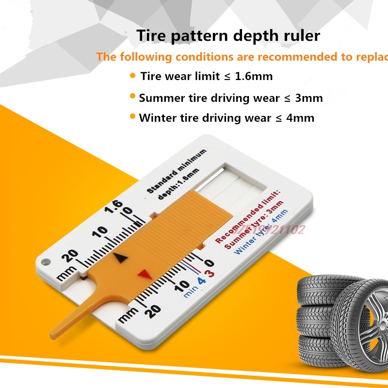 1Pcs 0-20mm Plastic Tire Ruler Vernier Depth Caliper Tire Pattern Depth Ruler