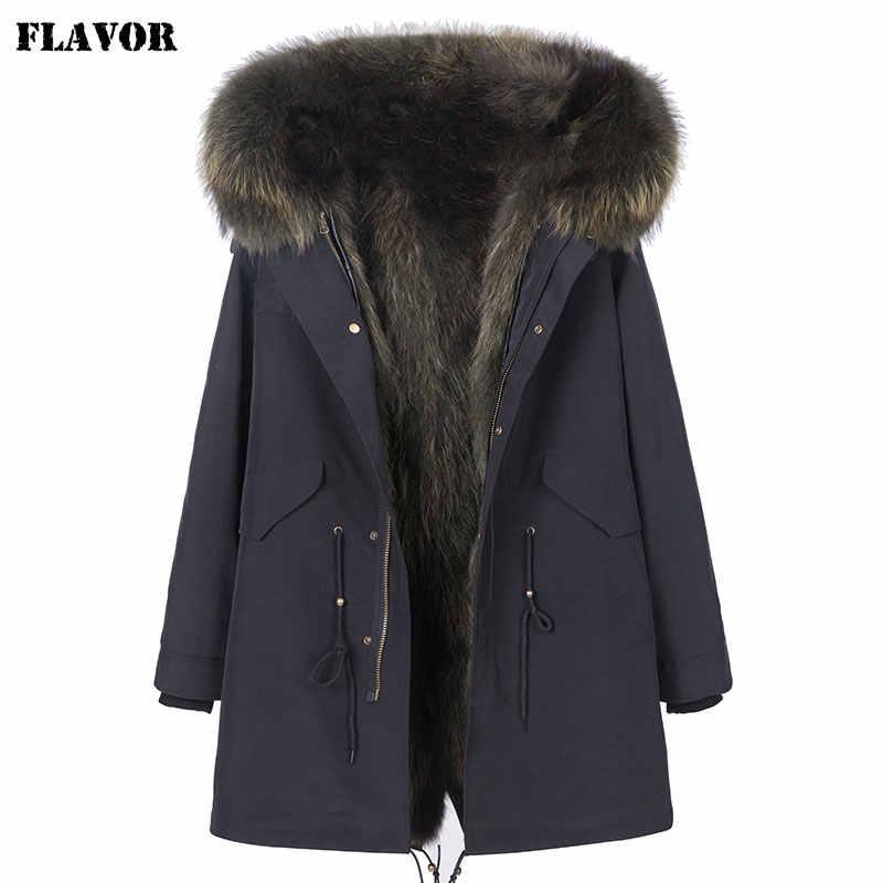 風味リアルファー冬のジャケット女性暖かい取り外し可能なアライグマの毛皮の襟女性のロングパーカー