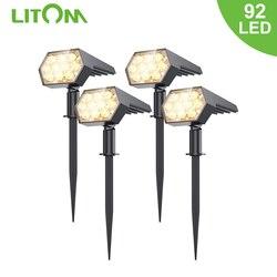 Уличные светодиодные светильники на солнечной батарее LITOM 92 светодиодный точечные светильники на солнечной батарее, ландшафтные прожектор...
