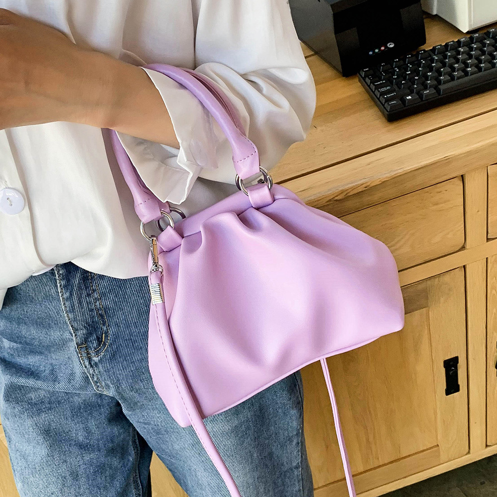 Cute Small Solid Color PU Leather Crossbody Bags For Women 2020 Elegant Shoulder Handbags Female Totes Lady Purple Hand Bag