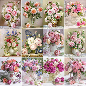 Evershine Diamond Painting Flower 5D DIY Diamond Embroidery Peony Rhinestone Picture Cross Stitch Rose Full Square Home Decor