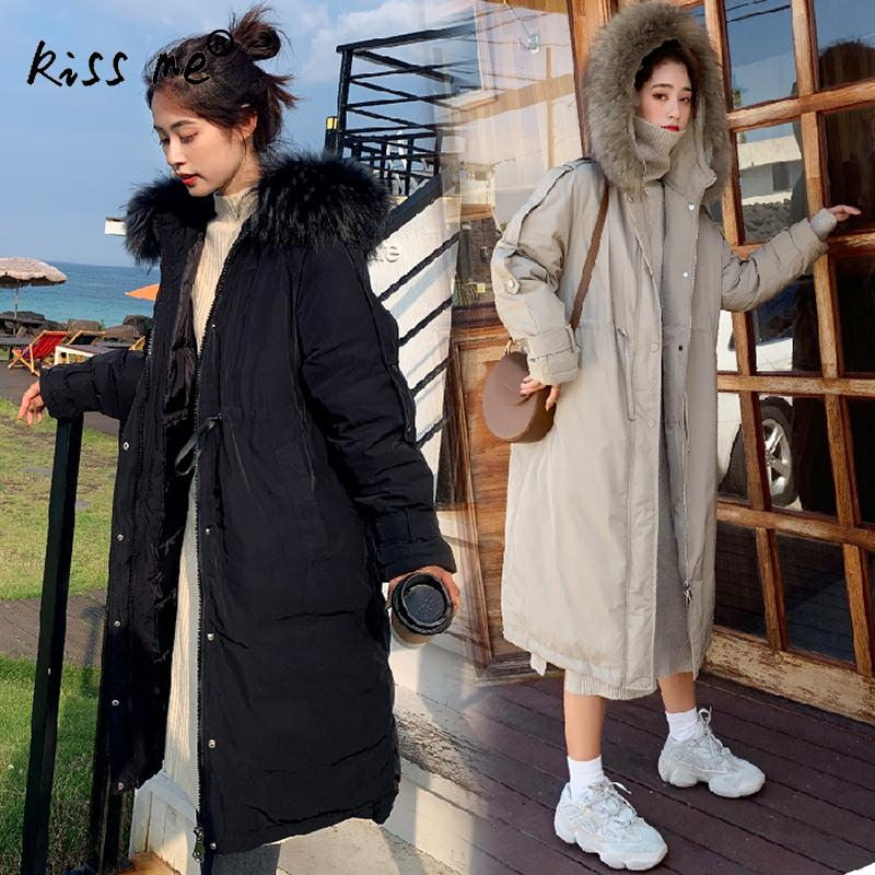 Solid Long Style Casual Outdoor Down Coat Hooded Thermal Winter Down Jacket Women Warm Cotton Suit Loose Female Clothes