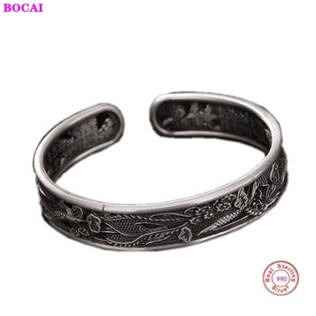 S999 sterling silver women's bracelet makes old auspicious  personality opening lady's pure silver bracelet Thai silver craft