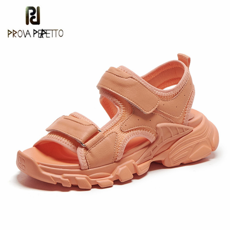 Prova Perfetto Thick Bottom Women Shoes Leather Round Toe Sandals Magic Paste Rome Shoes Soft Sports Women Shoes Sexy Sandals