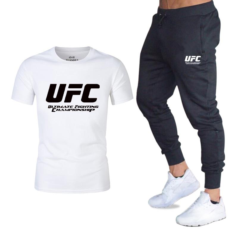 Tracksuit Male 2020 Men Clothing Sportswear Set Fitness Summer Print Men T Shirt + Trousers Men's Suit 2 Pieces Sets 2XL