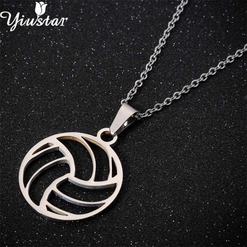 Yiustar Hollow Ball colliers małe do koszykówki na co dzień naszyjniki Charms geometryczne kobiety dziewczyny sportowy biżuteria ze stali nierdzewnej joyas