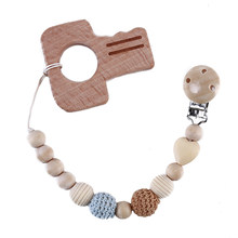 Creative Baby Pacifier Clip Holder With Beech Key Shaped Pendant Dummy Holder Crochet Beads New-born Gift Baby Teethers(China)