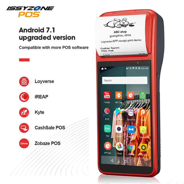 ISSYZONEPOS PDA Android 7.1 58mm Bluetooth Printer Thermal Scanner 4G WiFi NFC Mobile Order POS Terminal Handheld Barcode Reader